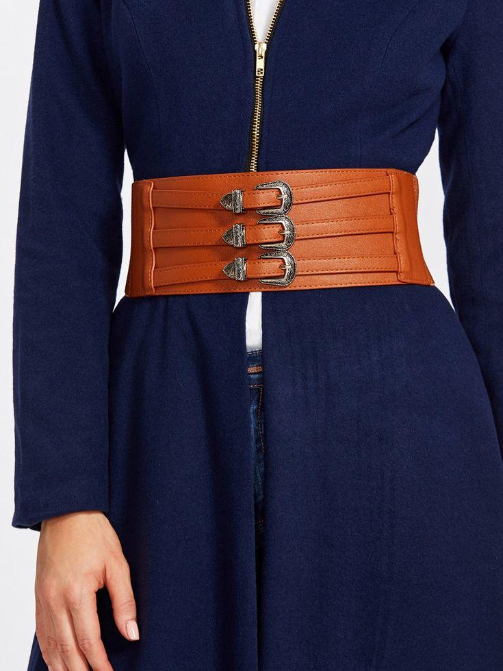 Belts by BORNTOWEAR. Metal Buckle Decorated Wide Belt