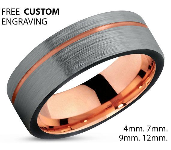 Black Tungsten Ring Rose Gold Wedding Band Ring Tungsten Carbide 7mm 18K Tungsten Ring Man Wedding Band Male Women Anniversary Matching