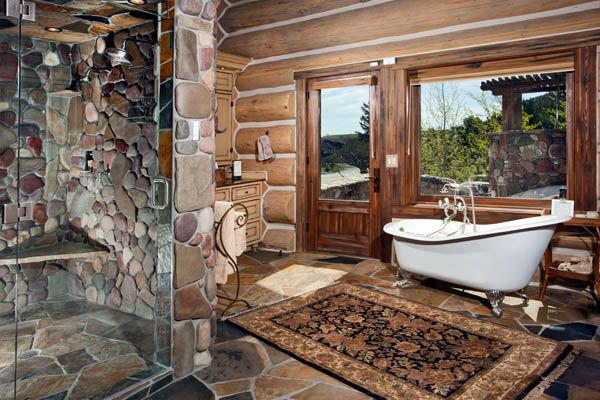 Love this Bathroom! Can't afford it but love it! (it's in a Ranch home which sits on 3000 acres spreading across both sides of the trout-rich Sun River just below the Gibson Reservoir Dam, in one of the most protected wildlife areas of Montana)
