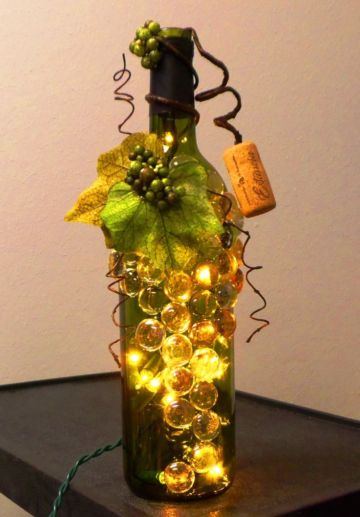 Decorative Embellished Green Wine Bottle Light with Glass