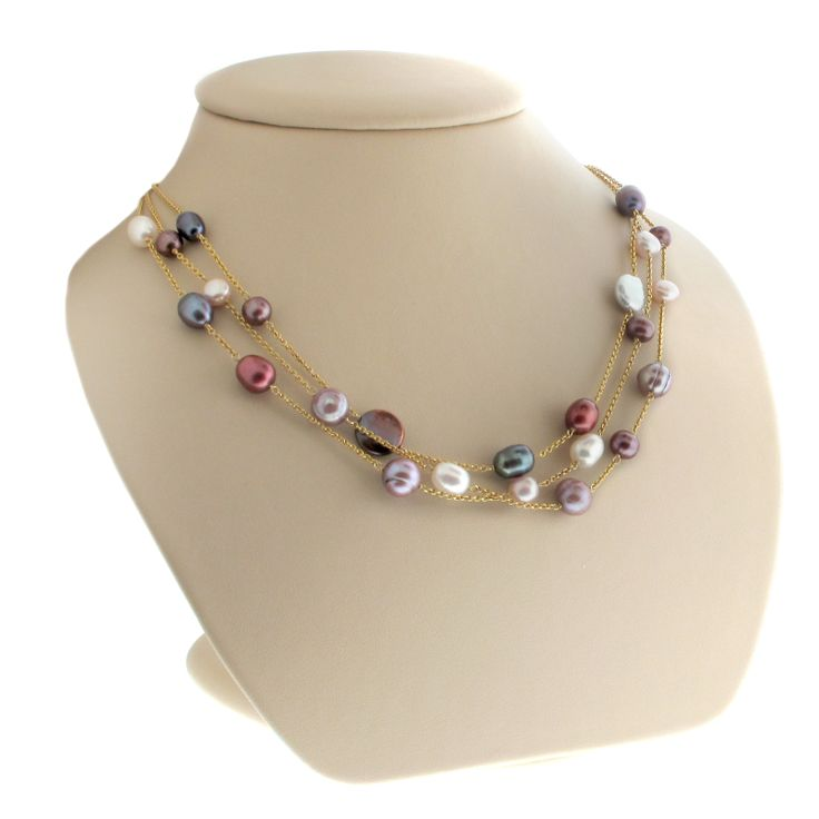 Three strands of Multicolored Pearls set in a 14K Yellow Gold Necklace — with P506826