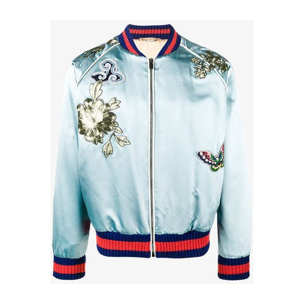 Gucci Bird Embroidered Bomber Jacket ($5,965) ❤ liked on Polyvore featuring men's fashion, men's clothing, men's outerwear, men's jackets, blue, gucci mens jacket, mens blue bomber jacket, men's embroidered bomber jacket, mens blue jacket and mens striped jacket