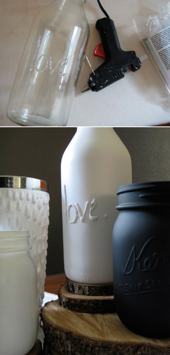 Hot Glue And Spray Paint To Make Your Own Embossed Jars