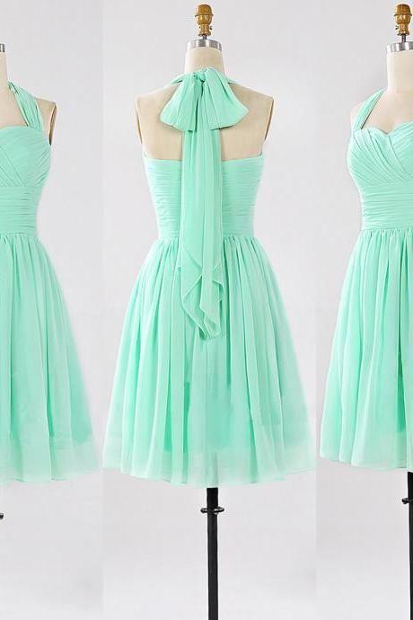 Halter Bridesmaid Dresses with Ruching Detail, Short Sage Bridesmaid Gowns, Modest Mini Chiffon Bridesmaid Dresses, #01012862