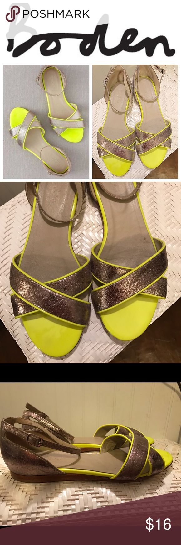 Boden Open-toed Flats with Ankle strap detail Boden open-toed flats, Sandals neon yellow and Pewter, worn a few times, only sign of wear is on bottom! No trades, Excellent used Condition EUC Boden Shoes Sandals