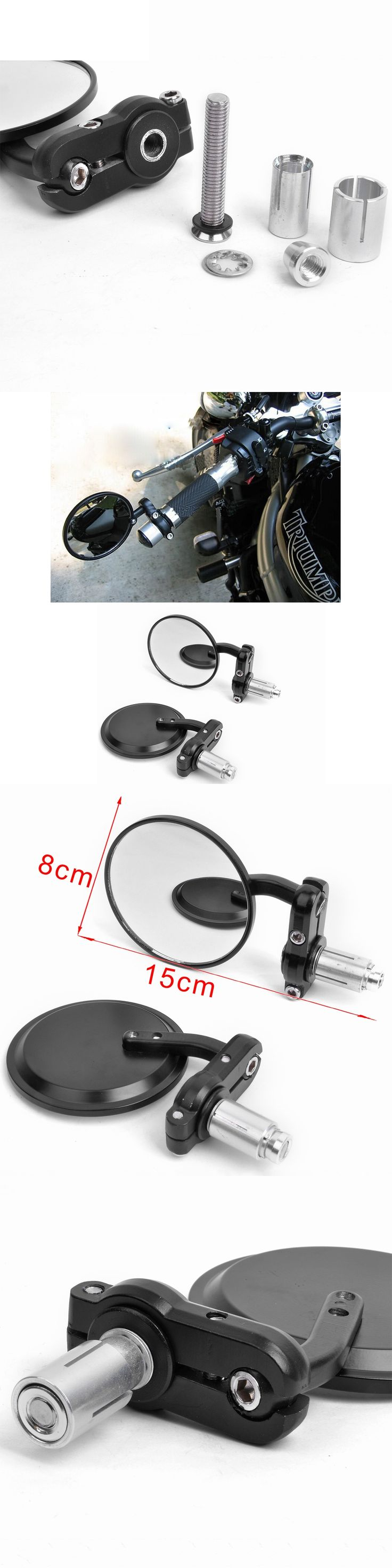 """MOTORCYCLE 7/8"""" HANDLE BAR END SIDE REARVIEW REAR MIRRORS CAFE RACER BOBBER CLUBMAN 3"""" ROUND retroviseur moto motorcycle mirror"""
