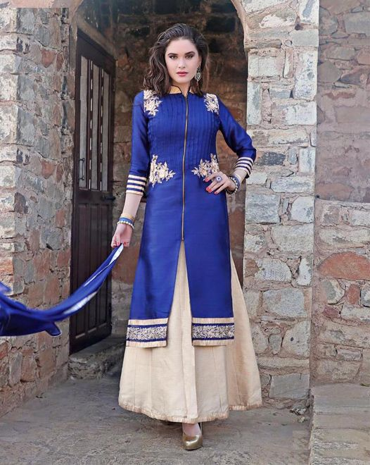 Cool Blue BhagalPuri Silk Top With Stone Work, off white Free Size Stitched Lehenga with Pure Chiffon Dupatta Decorated With Lace All Around. #salwarsuits #partywearsuits #designersuits #ladiessuits #silksuits #lehenga #designerlehenga