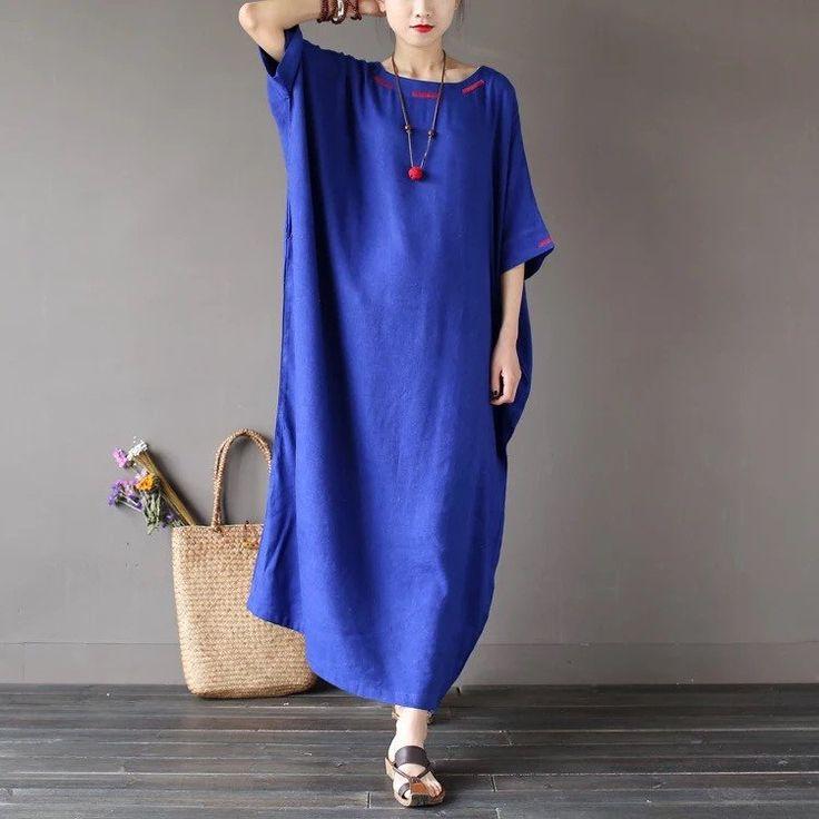Four Colours Linen Loose Big Size Summer Dresses Maxi Size Women Clothes 1639