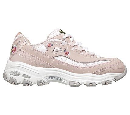 Skechers Women's D'lites Bright Blossoms Memory Foam Sneakers (Light Pink/Multi)