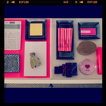 Organised Drawers  Pink  Brass fly Neon Home Office