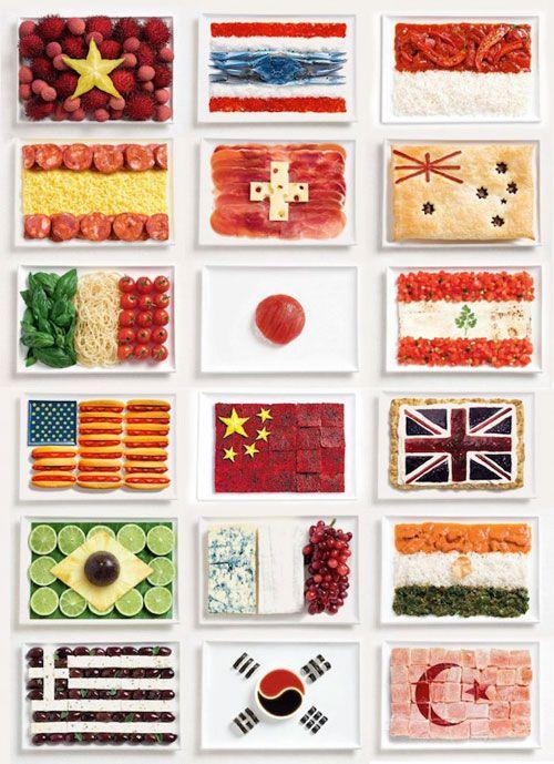 それぞれの国の料理や食材で作られた国旗シリーズ