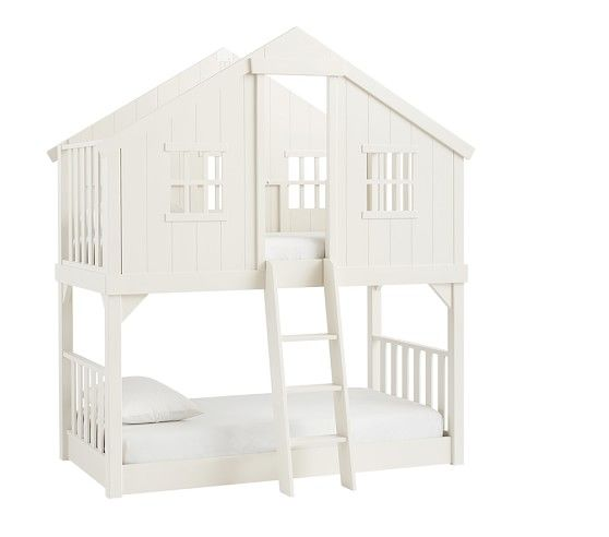 """Tree House Twin-over-Twin Bunk Bed 44.25"""" wide x 85.25"""" long x 94"""" high Minimum recommended ceiling height: 9'"""