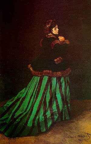 < 모네 '초록 치마를 입은 카미유' (1866), 유화, 231 x 151cm > 이 작품에서 모네는 카미유를 실제 크기로 그리면서 화려한 초록색 실크 드레스와 가장자리에 털이 달린 재킷을 입은 그녀의 미모를 전형적인 파리 여인의 모습으로 보이게 하였다. 어두운 배경으로 인하여 진지한 인상을 심어주고 있고, 카미유가 뒤로 돌아서서 얼굴을 약간 관람자에게 향하는 포즈는 우아한 느낌을 자아내고 있다.