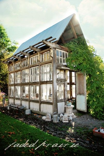Greenhouse made from reclaimed windows & doors ~ www.fadedprairie.com