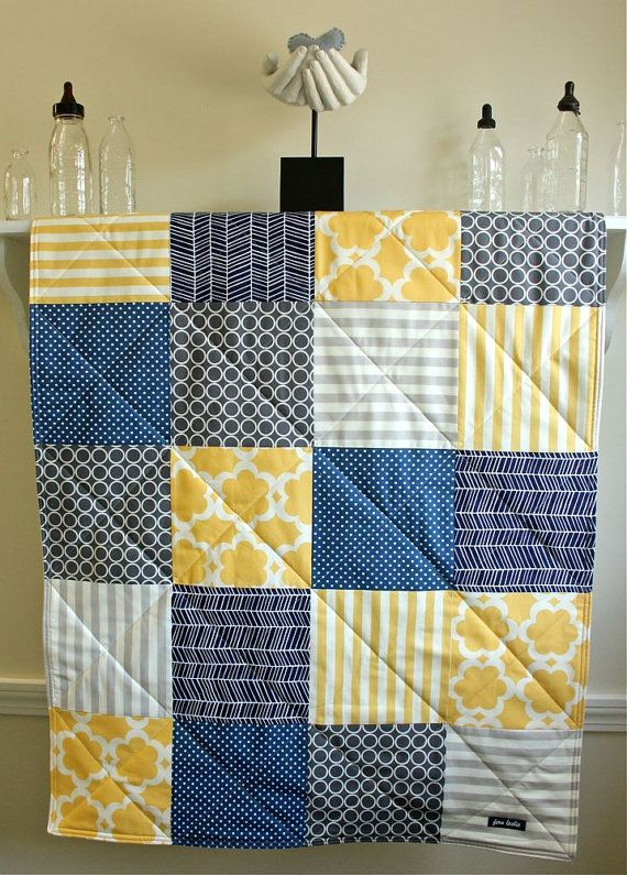 Baby Quilt Boy Navy Grey Yellow Gender by FernLeslieBaby