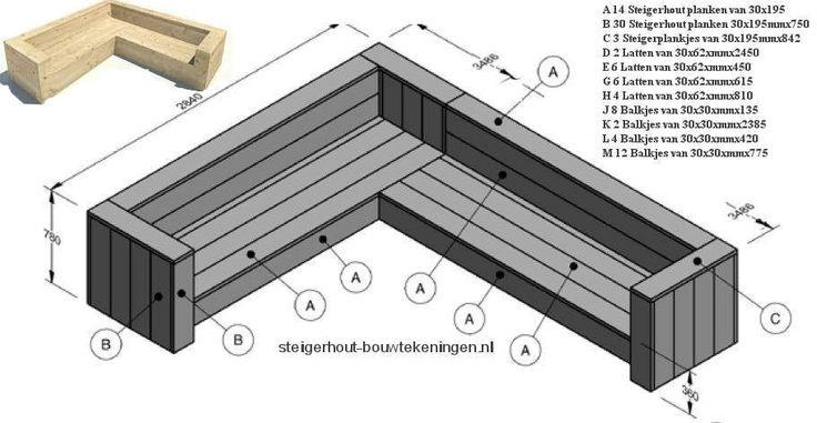 Maak deze hoekbank zelf van steigerhout, een gratis bouwtekening met stappenplan.