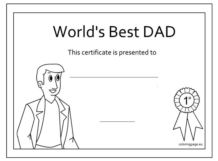 coloring pages fathers day certificates | Father's Day Award coloring page | Father's Day ...