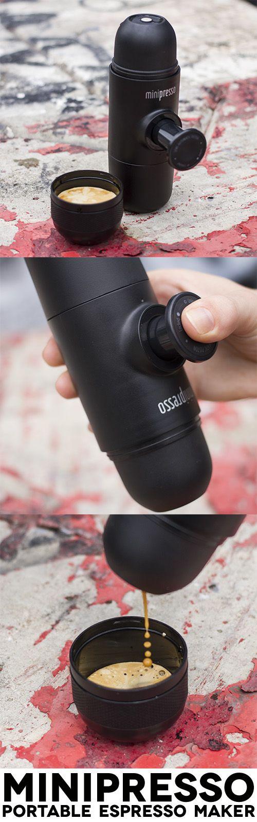 An ingenious hand-powered portable espresso maker