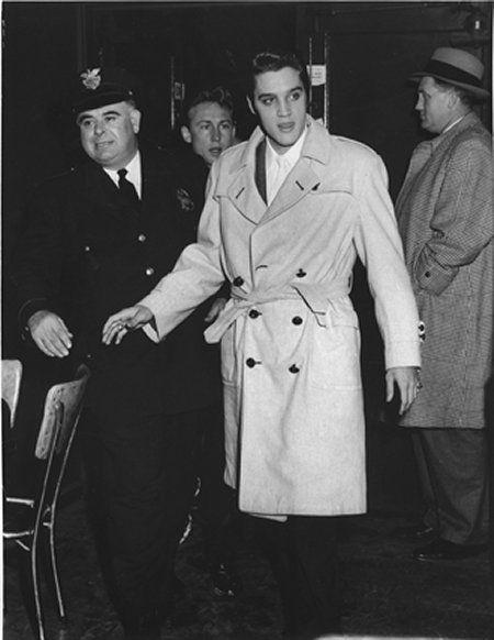 Nick Adams, Elvis and Ken Moore arrive at the Cleveland Arena - Nov. 23, 1956 Photo © Lew Allen