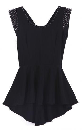 #SheInside Black Sleeveless Rivet High Low Dress