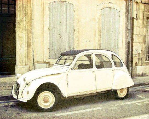 I adore it! Vintage French Car Fine Art Photograph of a cream colored Citroen on a little street in Southern France .