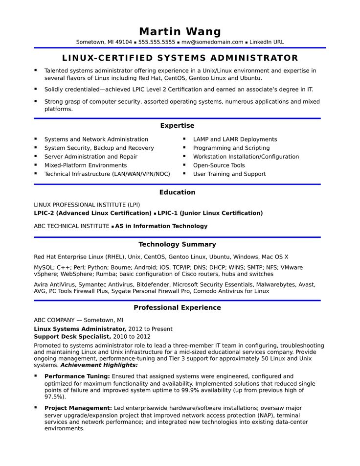 See This Sample Resume For A Midlevel Systems Adminstrator For