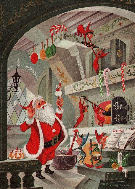 Santa & Elves in North Pole workshop