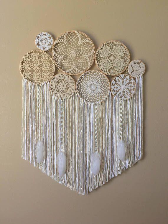 Large Crochet Dream Catcher Wall Hanging Doily Dream Catcher