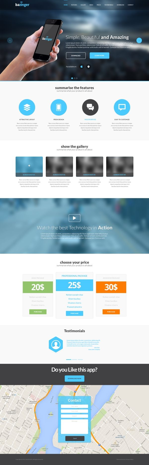 Bazinger - Free PSD Landing Page Template