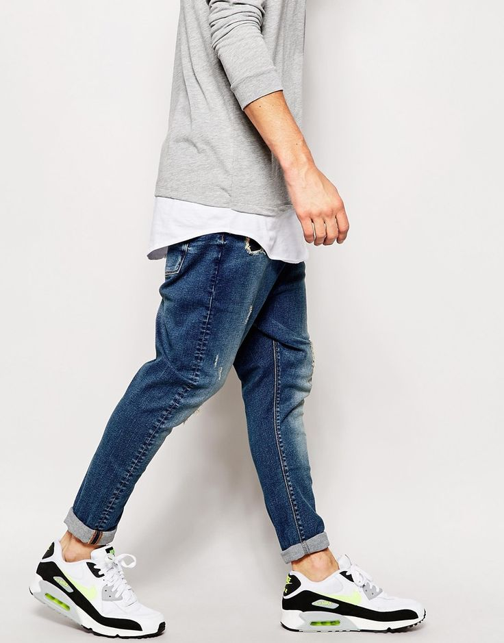 Image 4 of ASOS Drop Crotch Jeans With Rip And Repair Detail