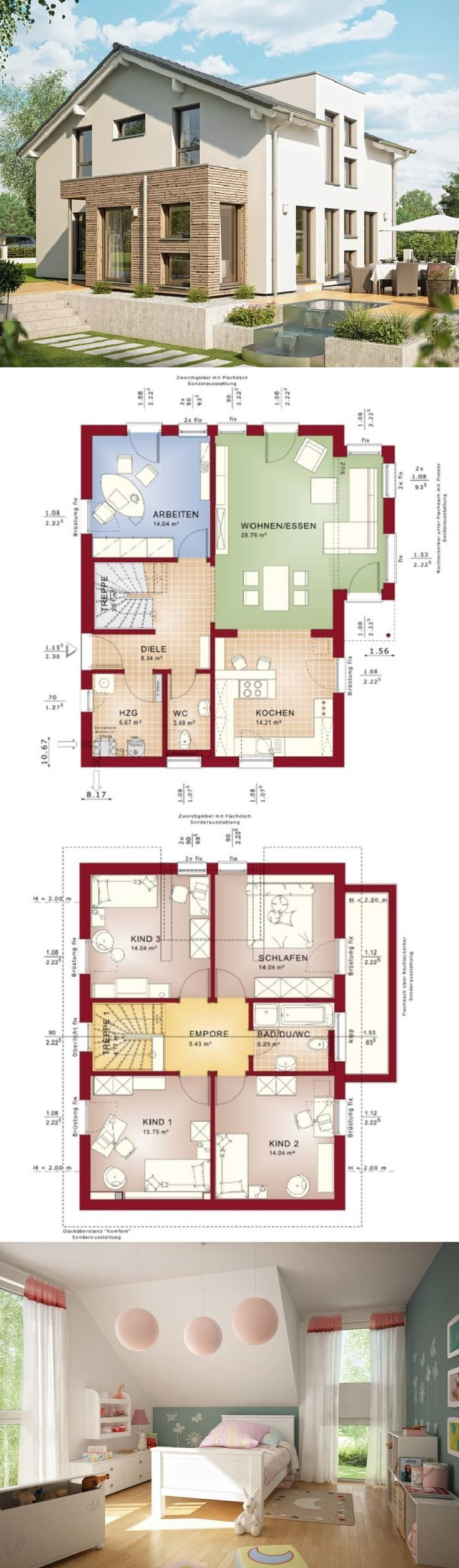 Einfamilienhaus Neubau Architektur modern mit Satt…
