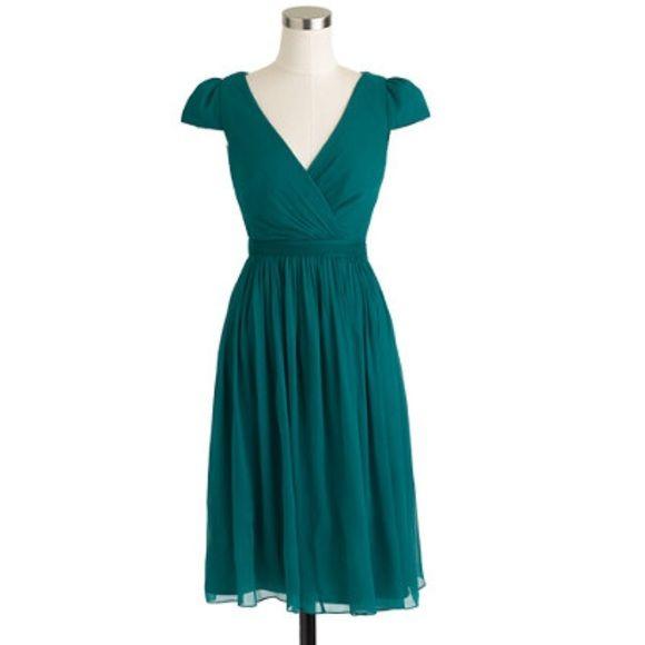 mirabelle J. Crew dress silk chiffon blue green NWT! ✨ size 10 petite J. Crew Dresses