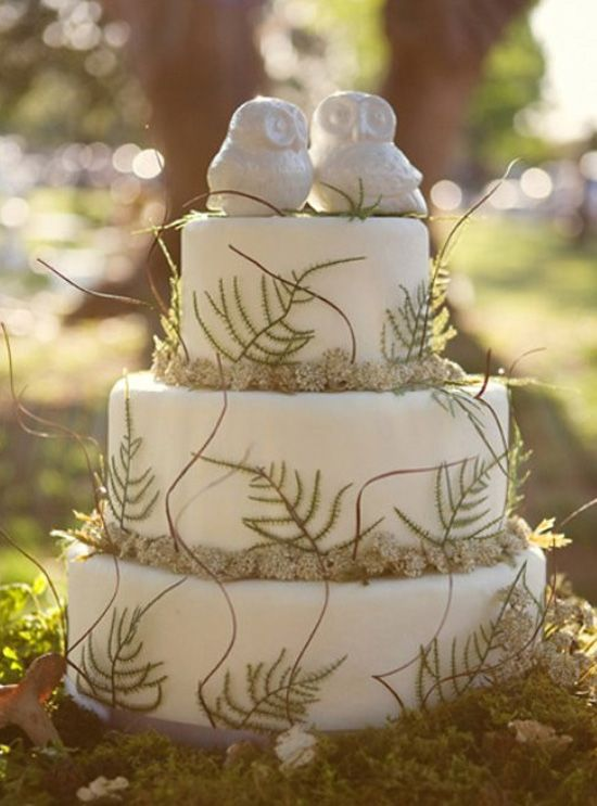 Cool country wedding cake ~ Ceramic Owl  cake toppers ~