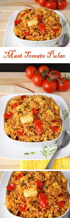 Mumbai Mast Tomato Pulao - A wonderful Mumbai street food styled rice with loads of flavor. Vegans can use tofu instead of paneer.