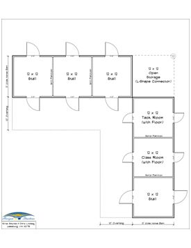 Unique floor plan for an l shaped barn horsey stuff for Horse stable floor plans
