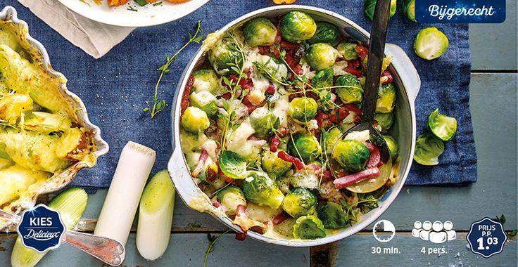 Gegratineerde spruitjes met kaas, spek en witte wijn #Delicieux #Lidl #Kerst