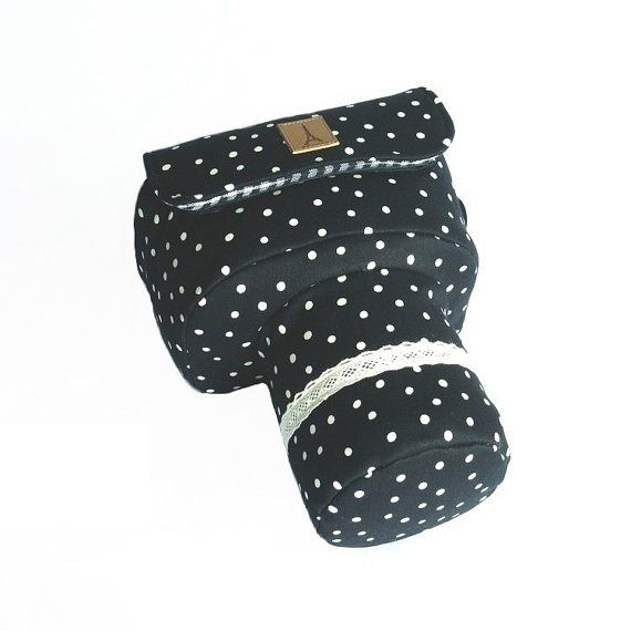 All the dots around the camera case, in dark color. It is simple but very nice looking.    ★★★★★★★    ▲Note:▼  Do tell me your camera model and your