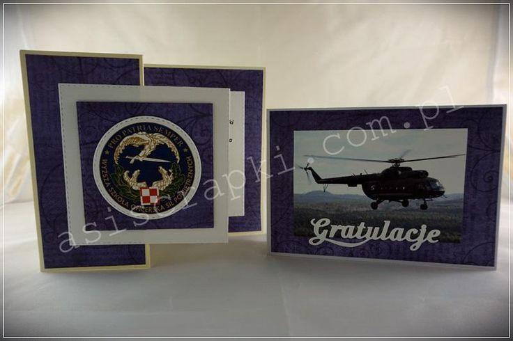 Wojskowa promocja lotnicza w sześciu egzemplarzach dla jednej osoby – sporo zdjęć. Muszę przyznać że miałam początkowo zagwostkę jak zrobić 6 różnych kartek dla tej samej osoby na tę samą okazję. Wojskowa promocja lotnicza