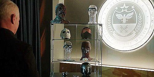 Ok. The Legion of Doom's Superhero Trophy Collection kinda hurts, right? :( (gif from blackcanarydinah on tumblr) |TV Shows|CW|#DC's Legends of Tomorrow gifs|Season 2|2x16|Doomworld|Damien Darhk|Neal McDonough|#DCTV|Superhero gifs|Arrow|Flash|