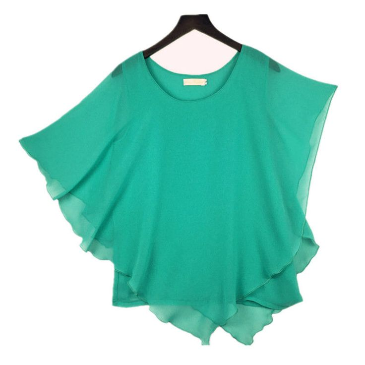 Plus size S-6XL Ladies Chiffon Blouses Batwing Asymmetric Sleeve Turquoise Shirt #Unbranded #Blouse #Casual