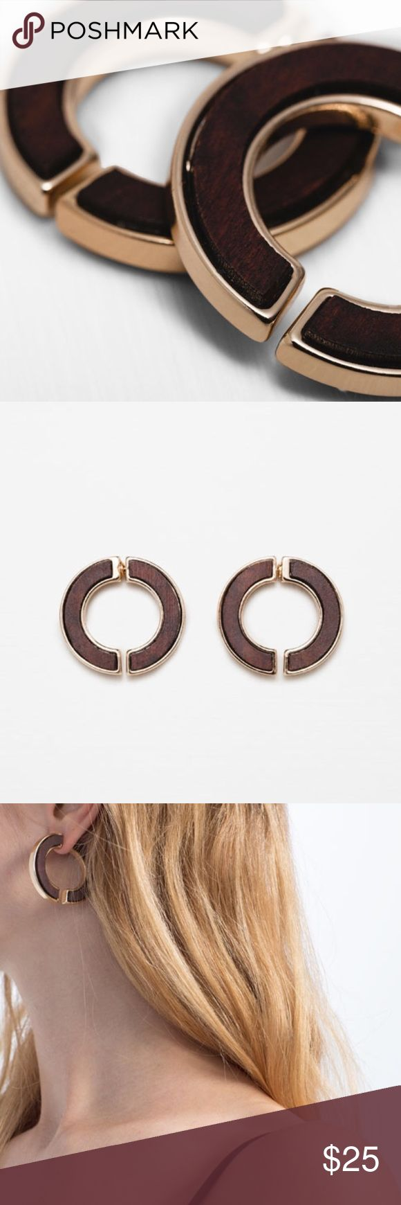 ZARA Wooden Earrings New with tags attached in original packaging. Never worn. Zara Jewelry Earrings