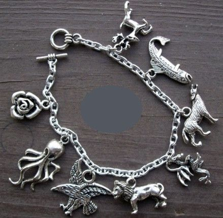 Game of thrones charm bracelet Antique Silver 8 charms