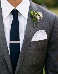 Wedding // Boys // Grey Suit / Blue Tie / Navy / Boutonniere / Handkerchief