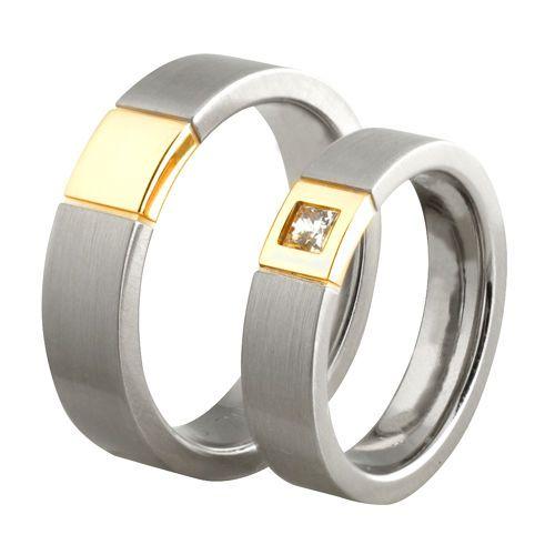 Obrączki ślubne z białego, żółtego i różowego złota z diamentem o masie 0,12 ct. Próba 0,585