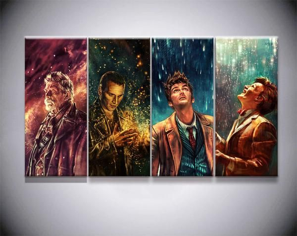 Dr Who The Doctor Series 4 Piece Canvas Framed Wall Art Geek Bling Doctor Who Art Doctor Who Fan Art Doctors Series