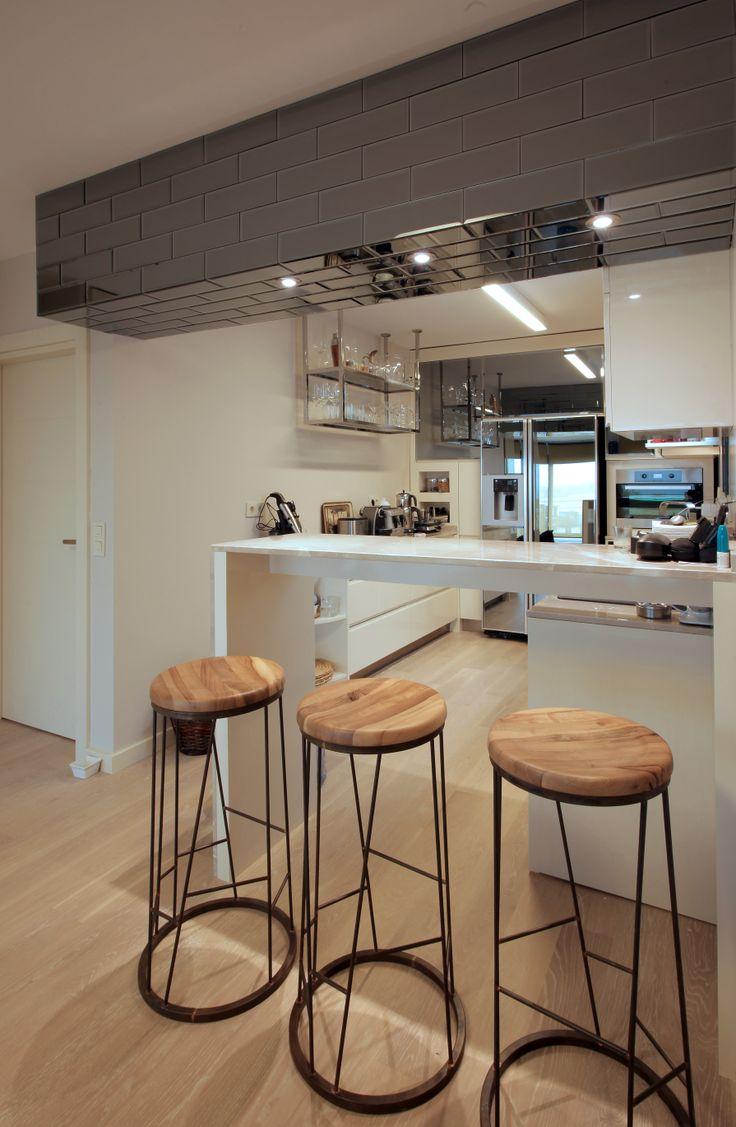 Terrace House // Naif Tasarım     #interiordesign #kitchen #barchair