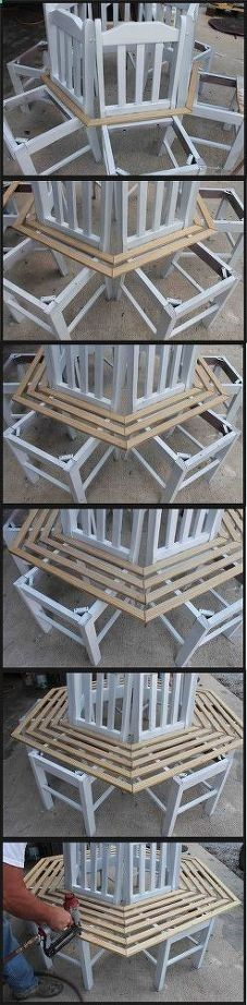 Wood Profits - tree bench made from kitchen chairs, diy, outdoor furniture, repurposing upcycling, woodworking projects - Discover How You Can Start A Woodworking Business From Home Easily in 7 Days With NO Capital Needed!