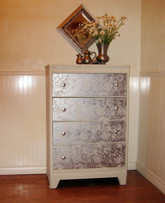 dresser makeover silver lace, how to, painted furniture
