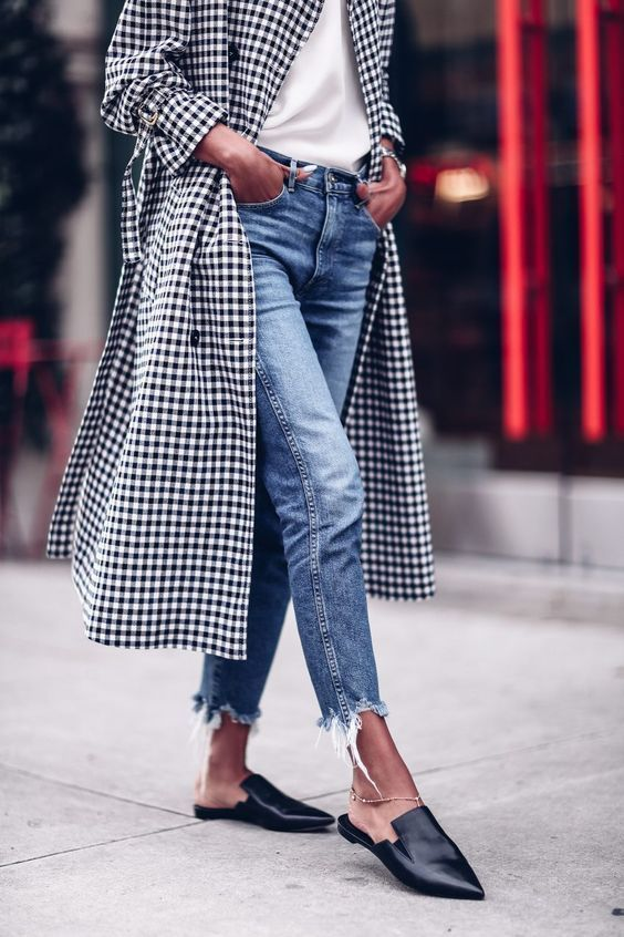 gingham trench and mules