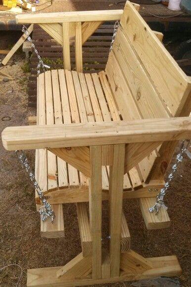 Wood rocking bench